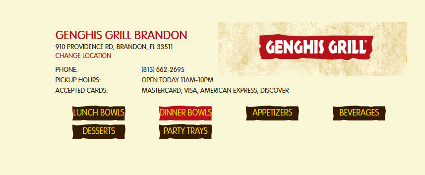 Genghis Grill Brandon coupon
