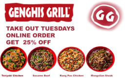 Genghis Grill 25% Off Tuesdays