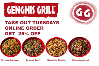 Take Out Tuesdays % 25 Off From Your Order