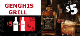 October Promotion – Genghis Grill Jack&Coke from $5