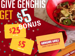 Black Friday – Buy a $25 gift card; get $5 to use next year!